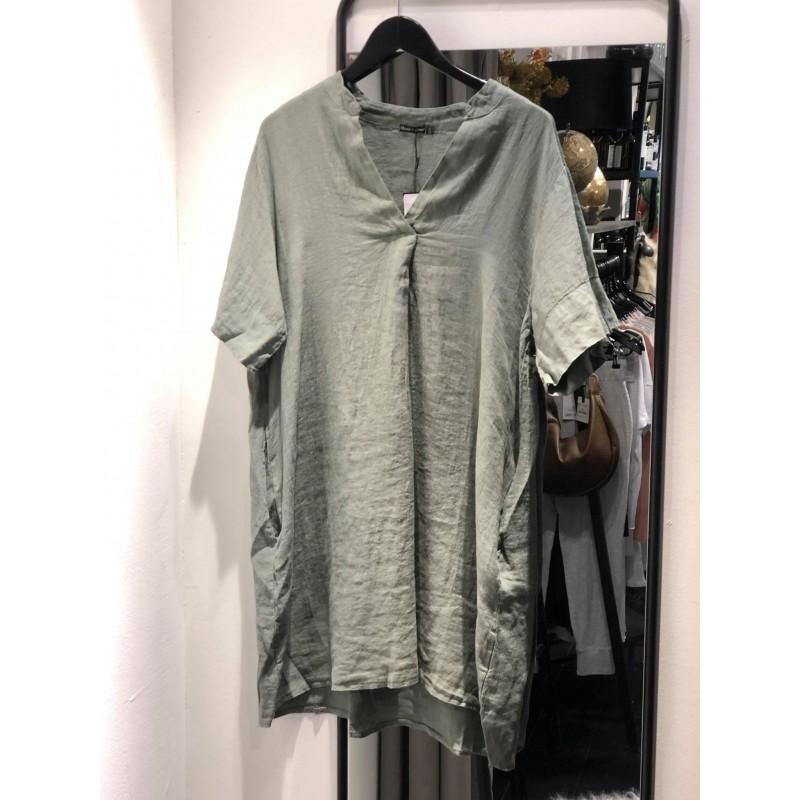 Siena linen tunic dress s/s - army