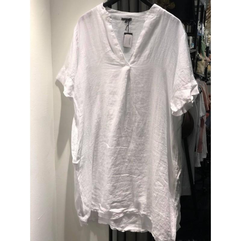 Siena linen tunic dress s/s - white