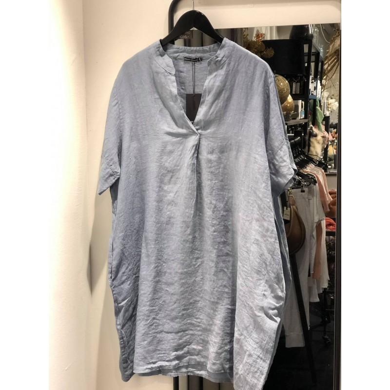 Siena linen tunic dress s/s - blue