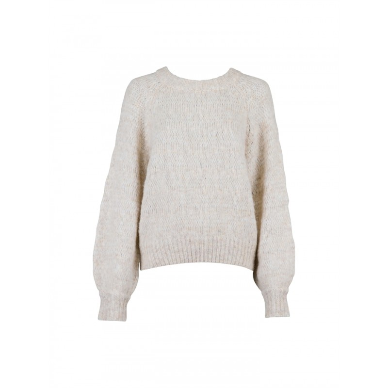 Dilsie stitch Knit Blouse - Off white Melange