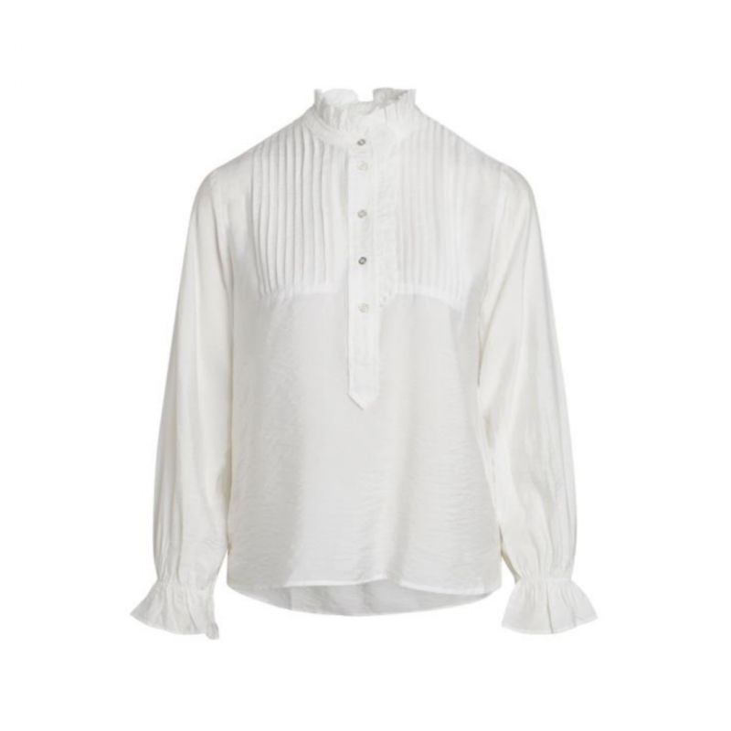 Callum Pintuck Frill Shirt - White