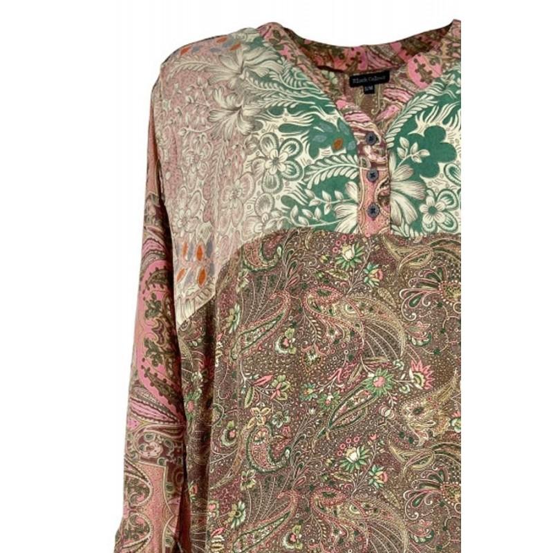 Luna Long Kaftan Shirt - Rose Black Colour