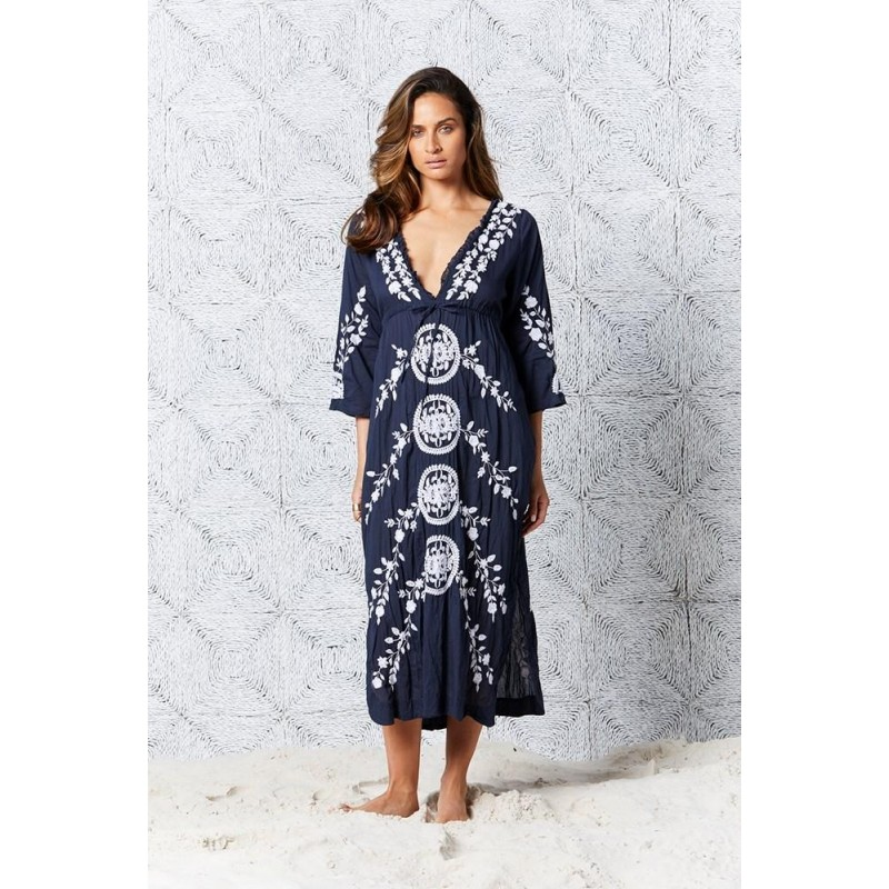 Byron Long Embroidery - Navy/White