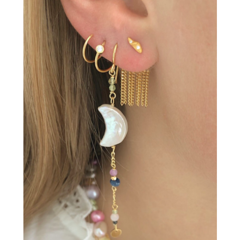 BIG DOT CURL EARRING RIGHT GOLD STINE A