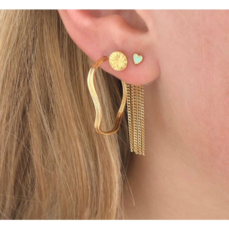 DANCING CHAINS LONG BEHIND EAR-EARRING GOLD STINE A