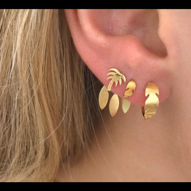 DANCING THREE LEAVES BEHIND EAR - GOLD STINE A