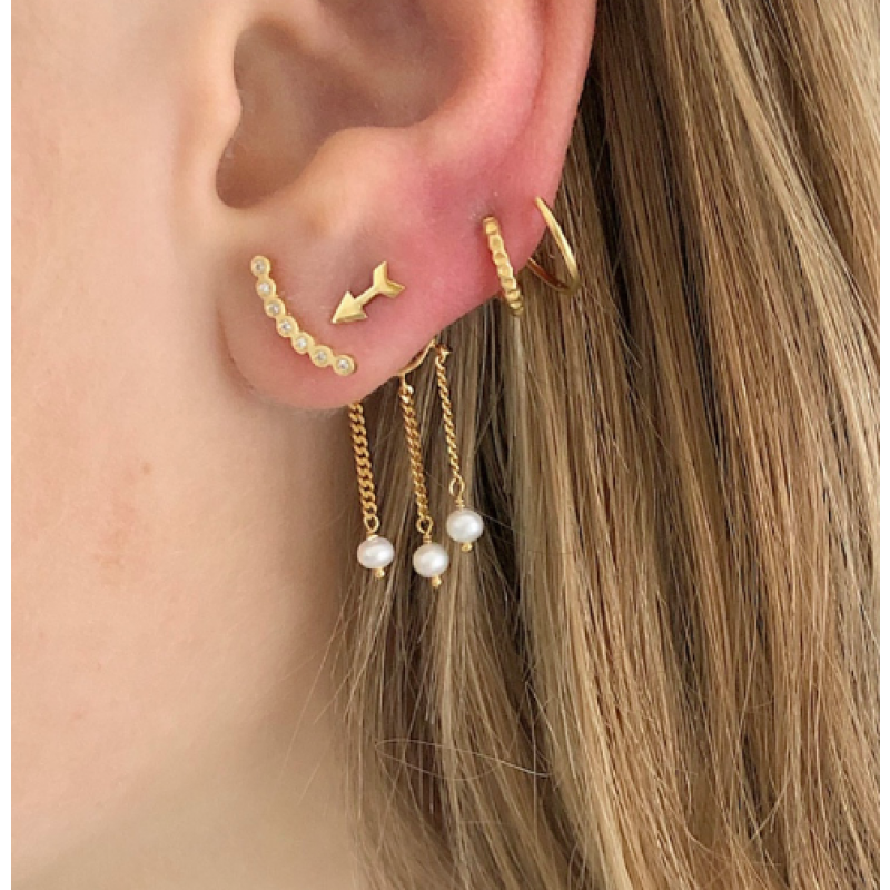 SEVEN DOTS EARRING PIECE LEFT GOLD STINE A