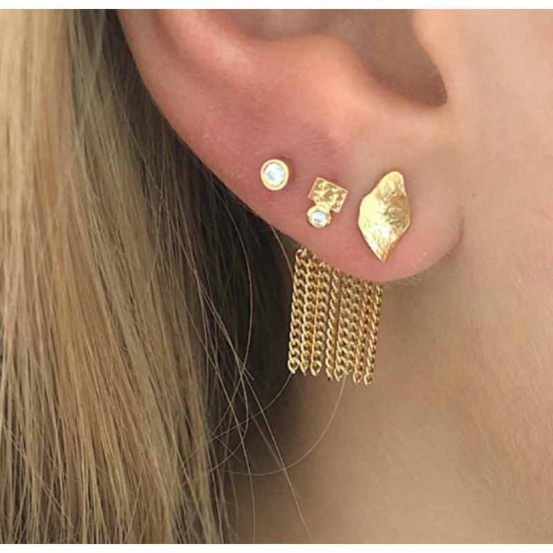 DANCING CHAINS BEHIND EAR-EARRING GOLD STINE A