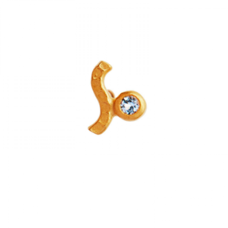 PETIT WAVE EARRING GOLD WITH STONE - LIGHT BLUE