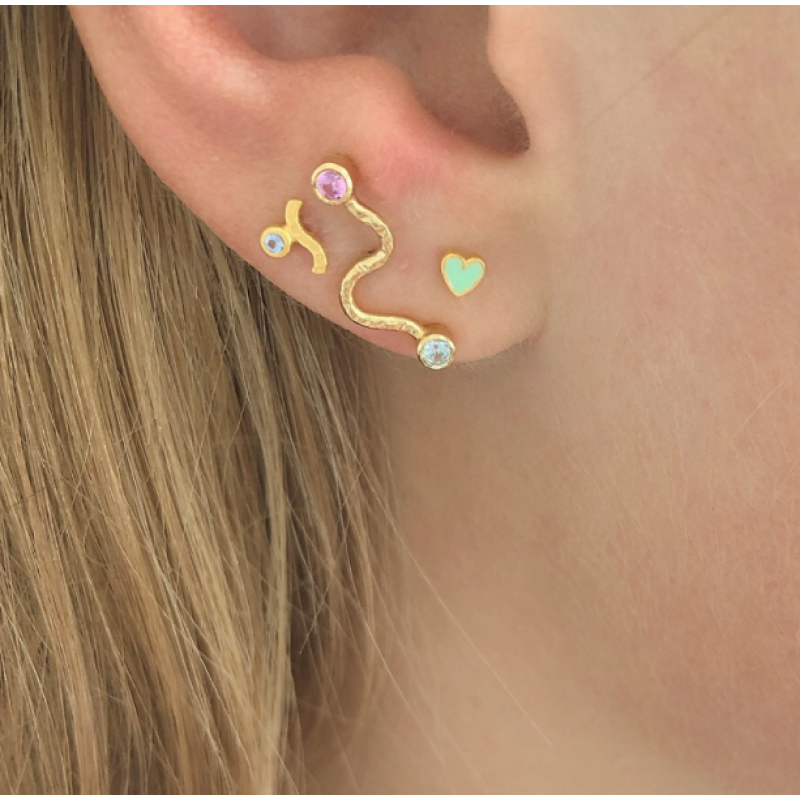 PETIT WAVE EARRING GOLD WITH STONE - LIGHT BLUE STINE A