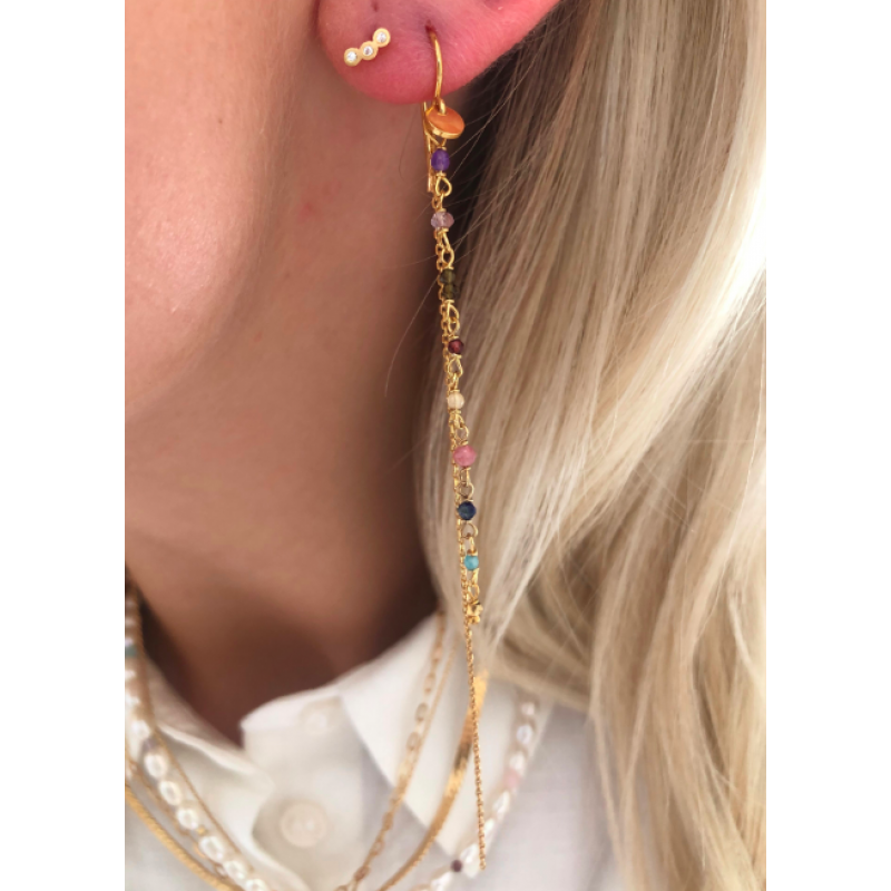 THREE DOTS EARRING PIECE GOLD STINE A