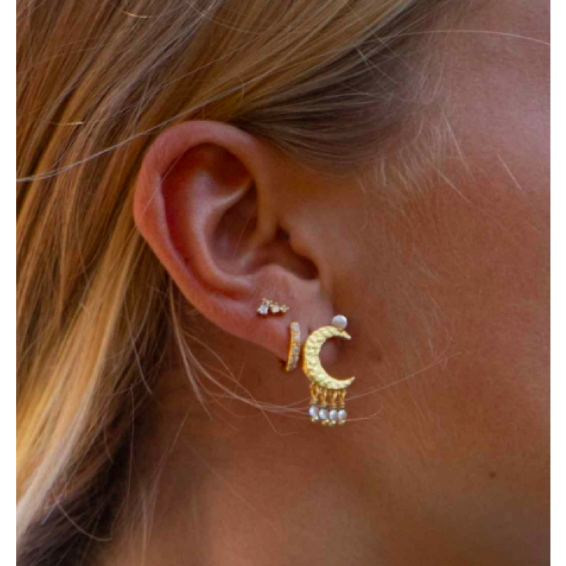 White moon dust earrings - HULTQUIST