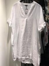 Siena linen tunic dress s/s - white Black Colour