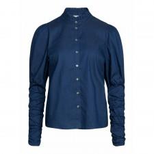 Sandy Denim Puff Shirt - Denim Blue Co'Couture