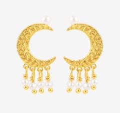 White moon dust earrings - HULTQUIST