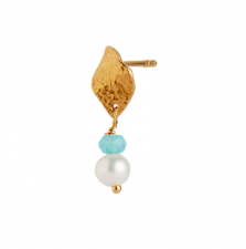 ILE DE L'AMOUR WITH PEARL AND LIGHT BLUE TOPAZ EARRING GOLD Stine A