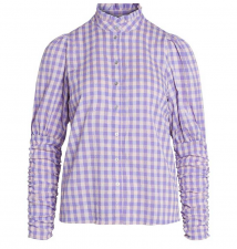 Cadie Check Puff Shirt Purple Co'Couture