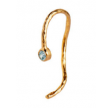 WAVY ONE DOT OPEN CREOL GOLD WITH STONE - BLUE