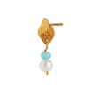 ILE DE L'AMOUR WITH PEARL AND LIGHT BLUE TOPAZ EARRING GOLD